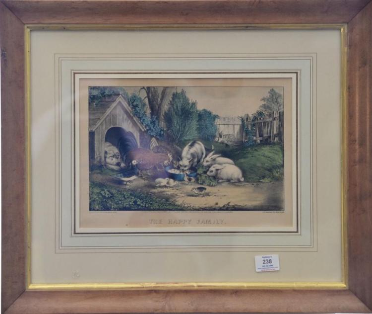 Currier & Ives hand colored lithograph,
