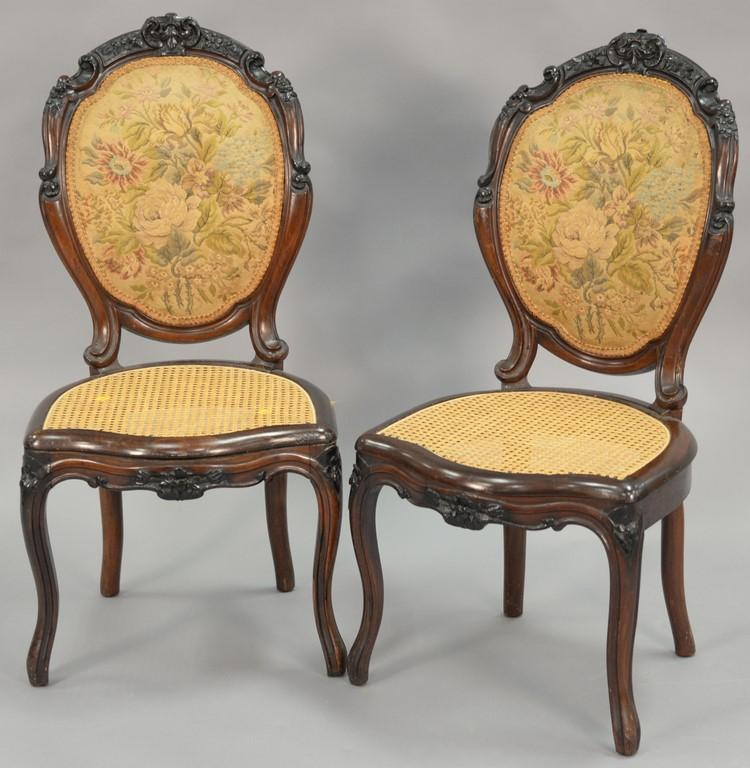 Pair of Victorian rosewood caned seat chairs.