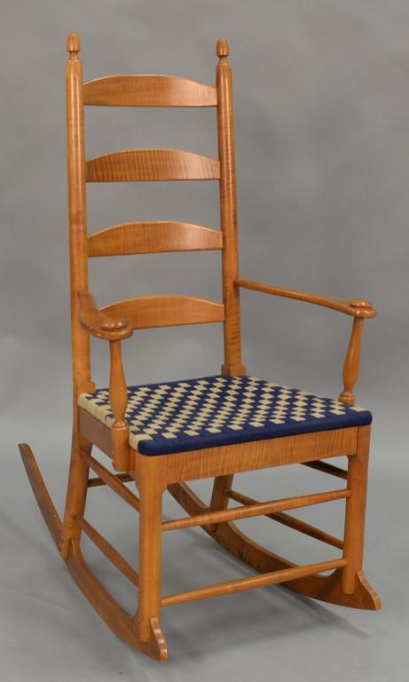 Shaker style maple and tiger maple rocker.