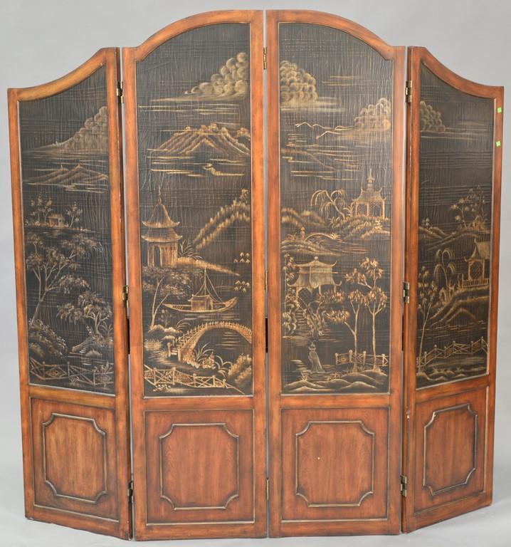 Four fold mahogany dressing screen. ht. 78in., wd. 80in.