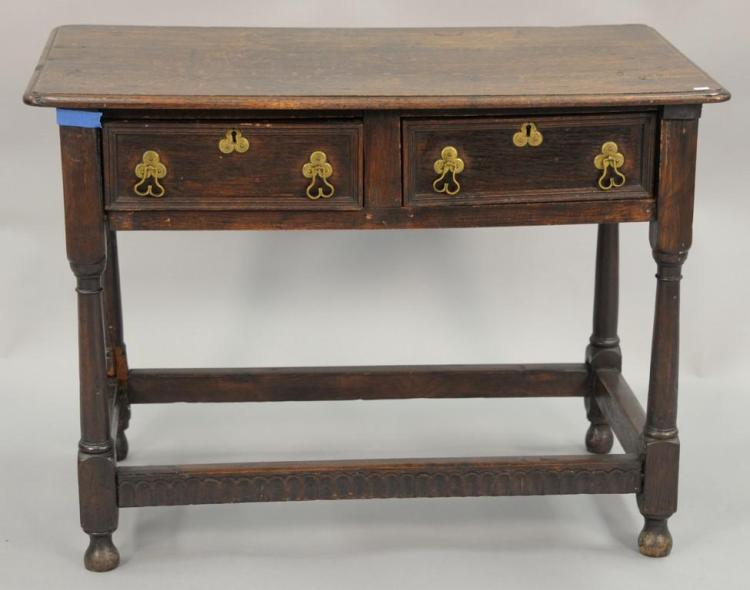 Oak center table with two drawers, late 19th century. ht. 27 1/2in., top: 20