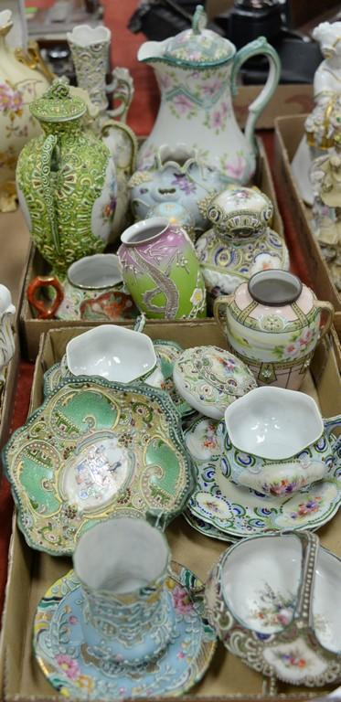 Two box lots of Japanese and Nippon porcelain moriage pieces.