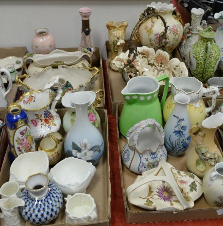 Four box lots of porcelain and china to include Royal Dux, Royal Worcester, Coalport, Copenhagen, Carlsbad, pitchers, vases, and ser...