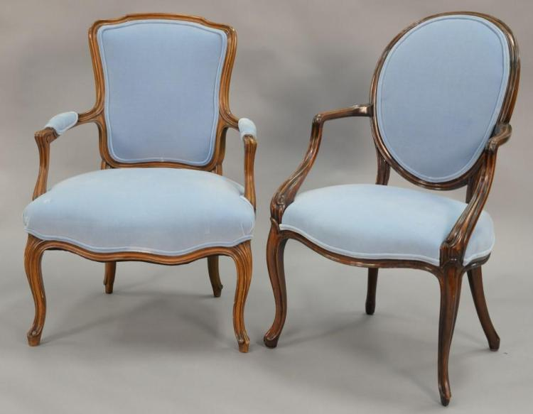 Two Louis XV style armchairs with blue upholstery in excellent condition.