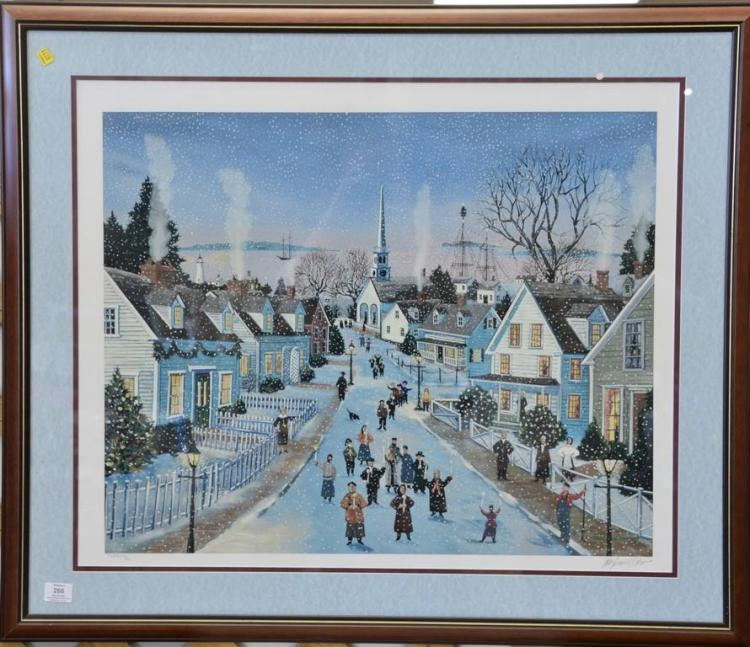 Sally Caldwell Fisher (b. 1951) print Snowy Village Evening signed lower right Sally Caldwell Fisher. sight size 26 1/2