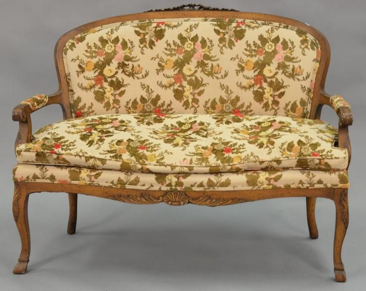 Louis XV style love seat. wd. 49in.