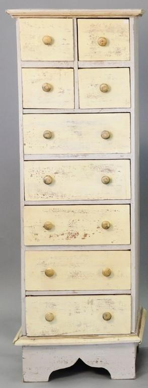 Three piece lot including painted chest and pair of painted stands. chest ht. 58in., wd. 17 1/2in.