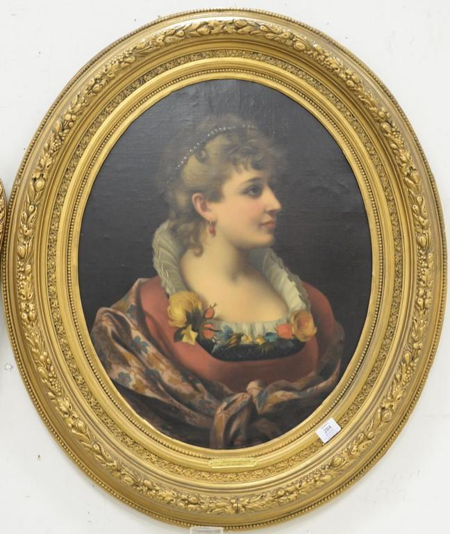 J. Rich oil on canvas Victorian oval bust of a woman