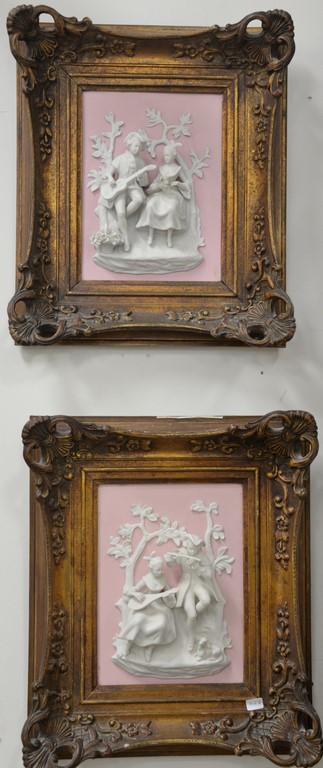 Four framed pieces to included embossed brass framed mirror (34