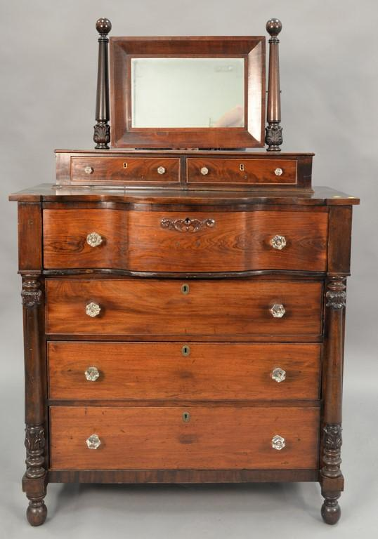 Mahogany and rosewood chest with mirror, circa 1840. ht. 67in., wd. 43in.