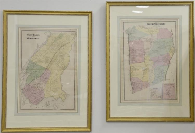 Four piece framed double page handcolored engraving maps from New York and vicinity by Beers Ells and Soute publishers including Gre...