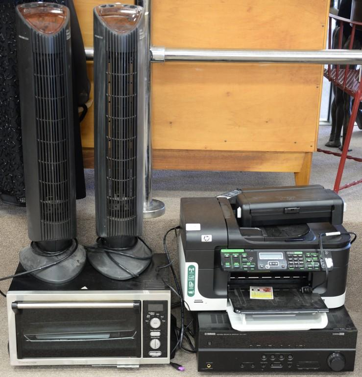 Five piece lot including two Ionic Breeze GP Silent Air purifier germicidal protection, DeLonghi convenction oven, Yamaha receiver, ...