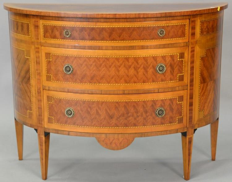 Demilune mahogany inlaid three drawer chest, Decorative Crafts Inc., made in Italy. ht. 34 in., wd. 46 in., dp. 18 in.