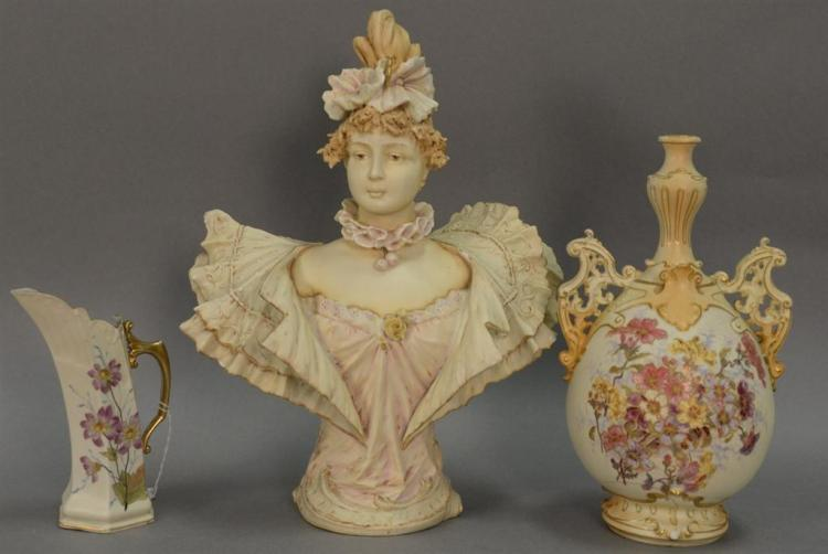 Three Rudolstadt porcelain pieces including figurine hand painted bust of a woman (ht. 16in.), large hand painted ewer or vase (ht. ...