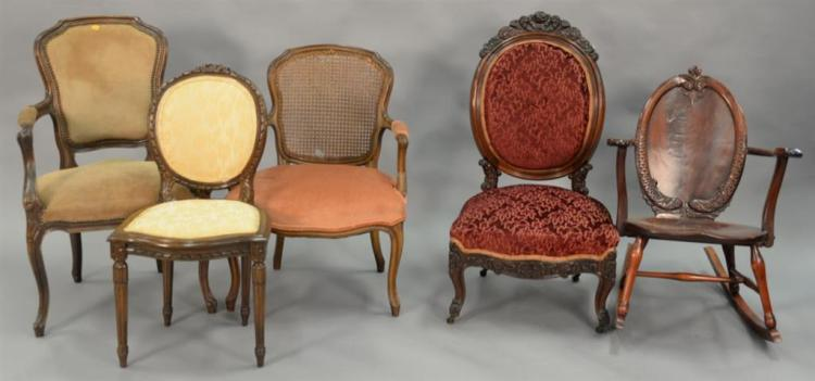 Three French chairs, two armchairs and one side chair.