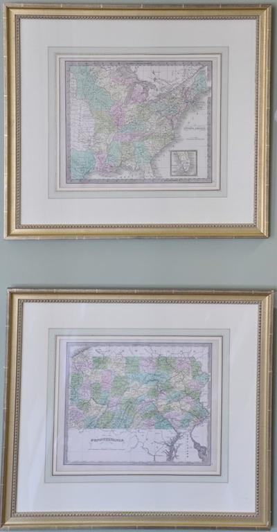 Six Jeremiah Greenleaf handcolored map engraving small folios