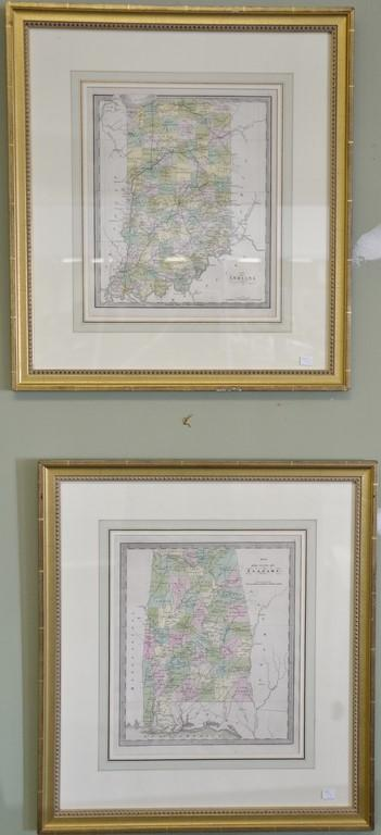Seven Jeremiah Greenleaf hand colored map engraving small folios
