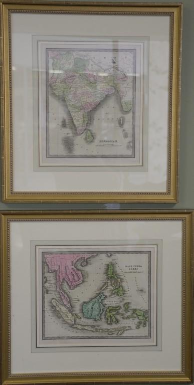 Ten Jeremiah Greenleaf hand colored map engraving small folios