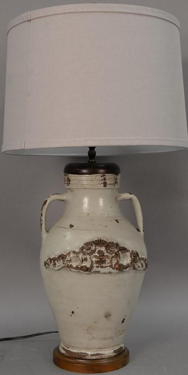 Stoneware jug made into a table lamp with applied decoration (drilled). jug ht. 16in.