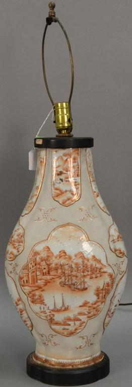 Large Chinese export porcelain vase having orange painted panels of landscapes and harbor senes (has is) total ht. 29 1/2in.