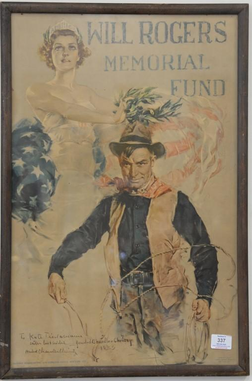 Howard Chandler Christy (1873-1952), colored lithograph, Will Roger Memorial Fund, signed in poster and signed and dated in ink lowe...