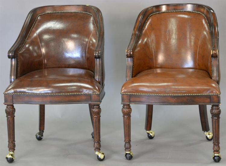 Pair of office armchairs, Victorian style.