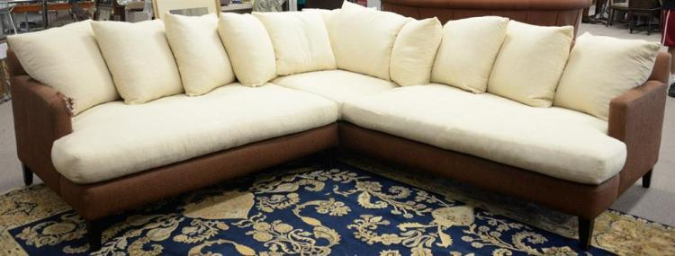 Two part L shaped sectional sofa, Theodore's (one arm end as is). lg. 96
