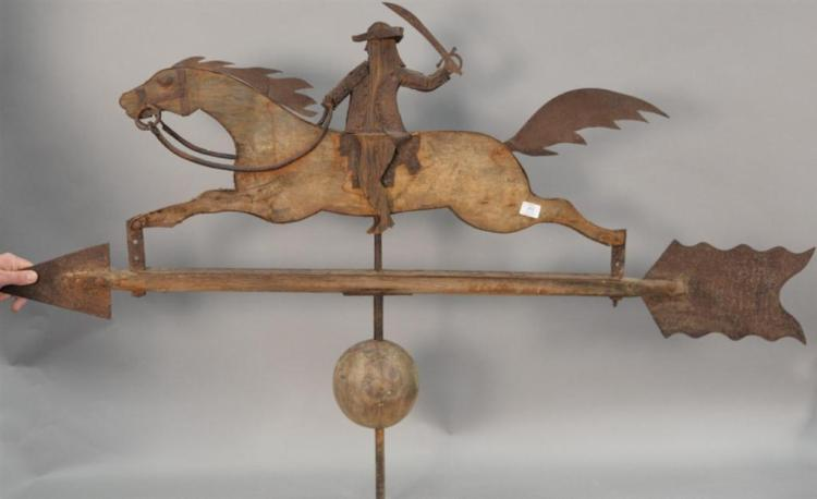 Primitive style weathervane, horse and rider, wood and metal.ht. 40in., wd. 66in.