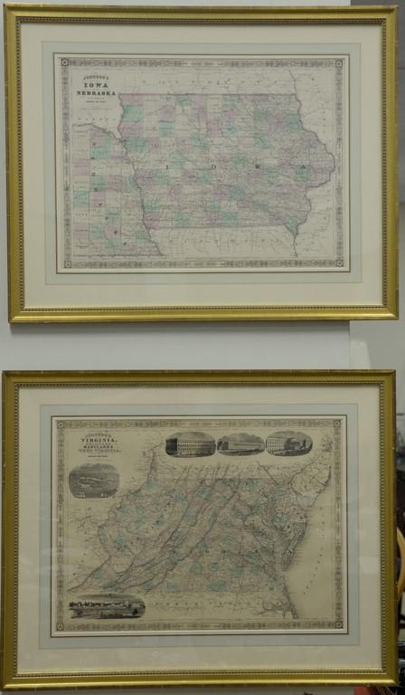 Johnson's maps, four hand colored double folio engraved maps including California, Pennsylvania and New Jersey, Virginia and Marylan..