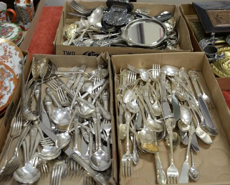 Three box lots of silverplate flatware with two partial flatware sets.