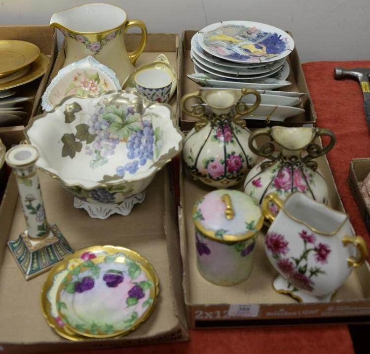 Four box lots of hand painted porcelain to include large Prussia fruit bowl, hand painted Nipoon, Limoges, etc.