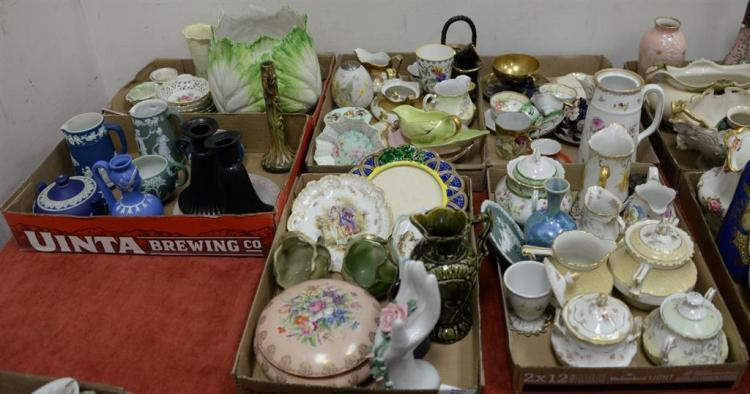 Six box lots with porcelain cups and saucers, bowls, creamers, vases, group of Wedgwood and Jasperware to include sugars and creamer...
