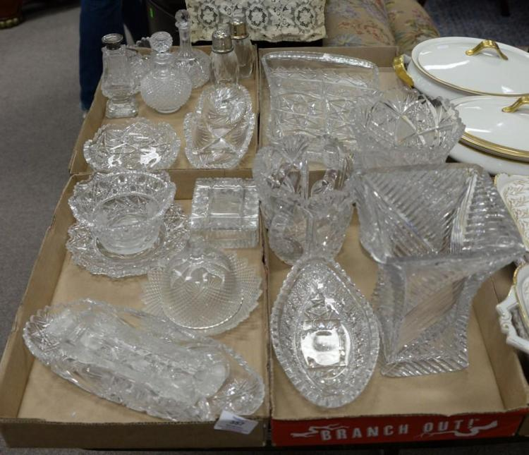 Four box lots of cut glass vases, serving pieces, bowls, etc.