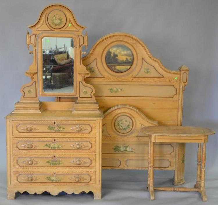 Victorian cottage pine three piece bedroom set with original paint and stenciling, circa 1880. bed: ht. 67in. chest: ht. 80in.