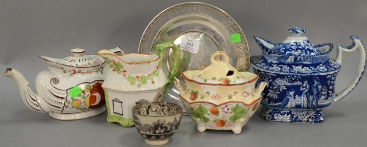 Six piece lot of Staffordshire, soft paste, and sterling silver plate (dia. 9in.)
