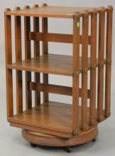 Oak revolving bookcase. ht. 31in., top: 17 1/2