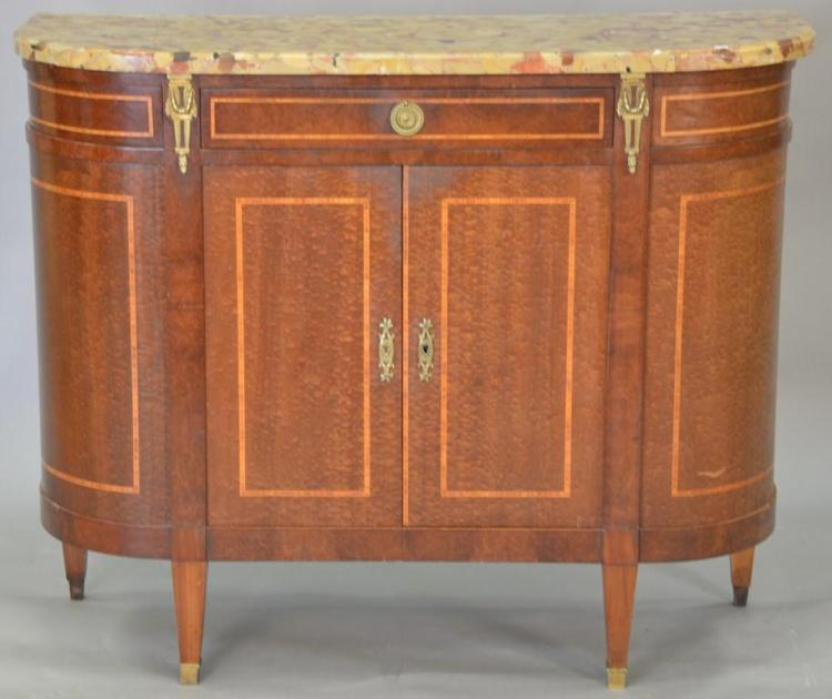Louis XVI style marble top side cabinet. ht. 39in., wd. 48in., dp. 17 1/2in.