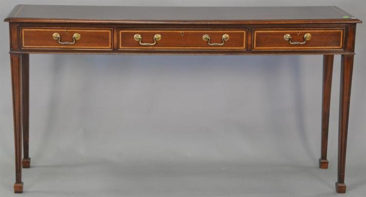 Mahogany hall table with three drawers. ht. 32in., top: 11