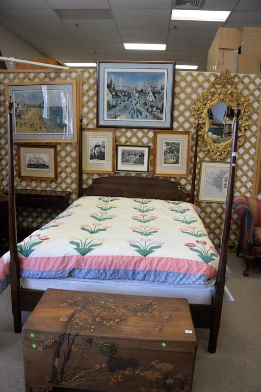 Cherry queen Anne four post bed. ht. 72in.
