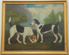 oil on canvas of two dogs, 20th century, 32