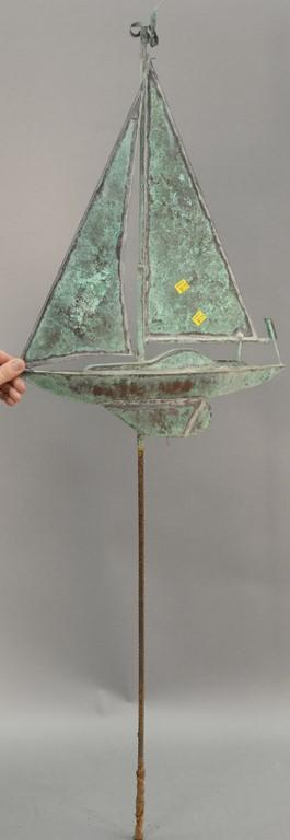 Copper sailboat weathervane. ht. 54 1/2in.