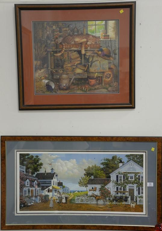 Charles Wysocki (1928-2002) two colored prints including Sleeping Cat and Horse with Carriage in Town, pencil signed and numbered. s...