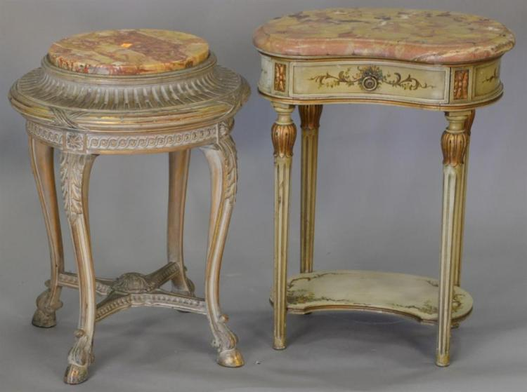 Two marble top stands. ht. 25in.
