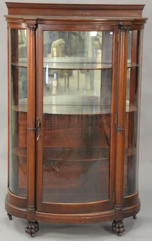 Victorian mahogany bowed glass china cabinet. ht. 65in., wd. 41in., dp. 18in.