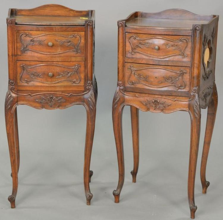 Pair of Louis XV style three drawer stands. ht. 34 in.; top: 12