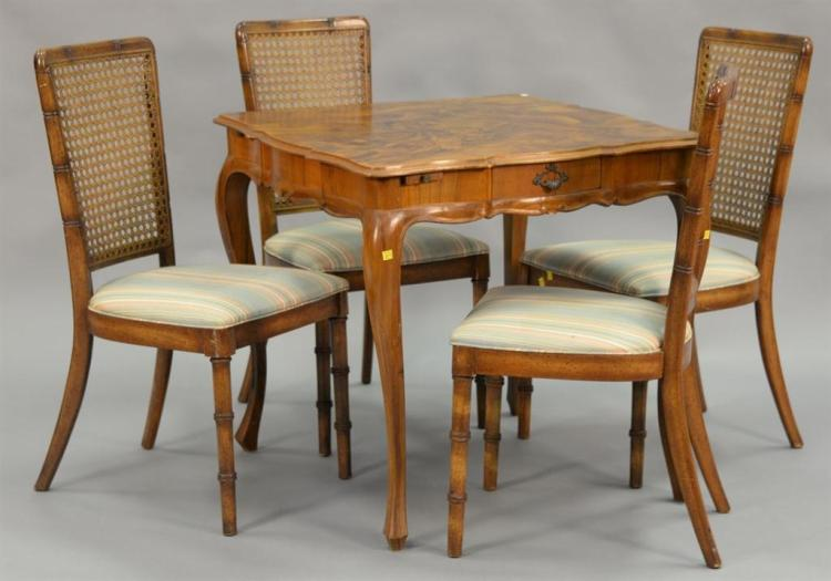 Burlwood five piece games table and chairs. ht. 30in., top: 32
