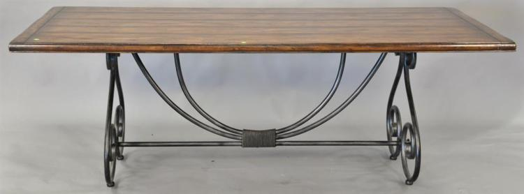 Tressel style table with iron base (top: 40
