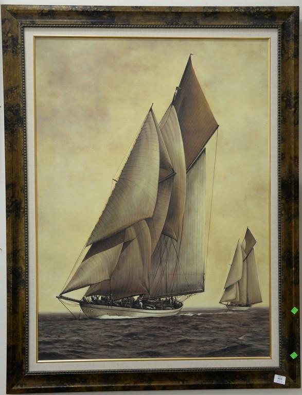 Two large contemporary prints on board sailing vessel and sunset landscape (22