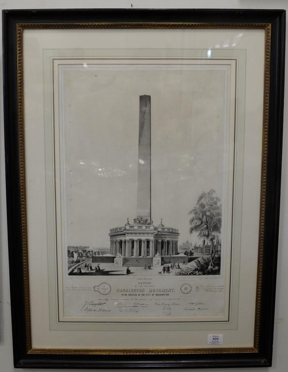 After C.G. Crehen, lithograph, Design of the National Washington Monument to be Erected in the City of Washington, lithograph by Wil...