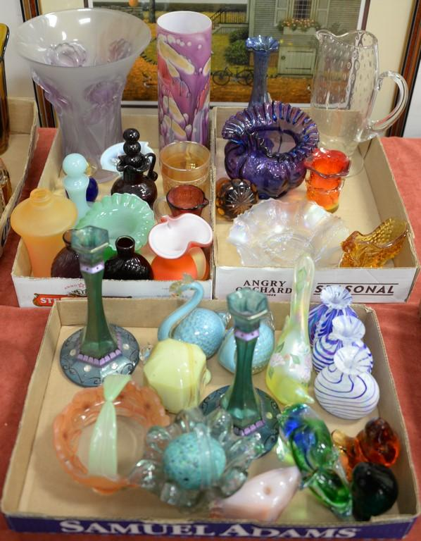 Three box lots of art glass to include vases, carnival glass, Pairpoint birds, etc.